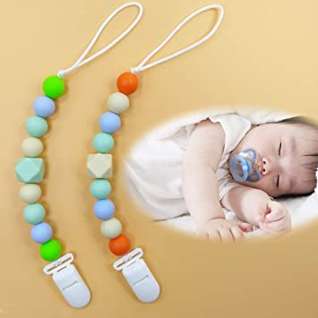 Jiyaru Pacifier Clips Silicone Teether Holder Baby Shower Gift for Girls Boys Gray