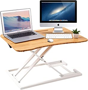 ZHU CHUANG Stand Up Desk Standing Desk Converter Gas Spring Sit Stand Desk Workstation Sit to Stand Desk Riser 100% Solid Bamboo Desktop (White)