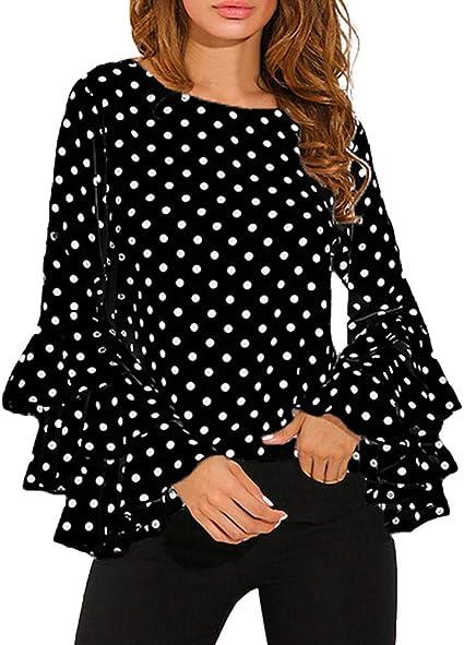 MEIbax Camiseta de Mujer con Lunares flareados con Cuello ...