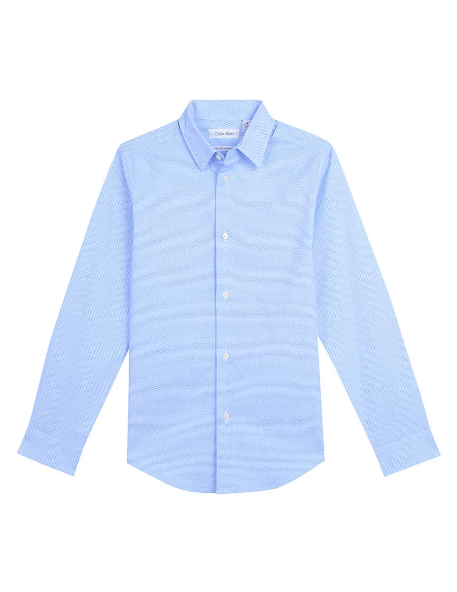 Calvin Klein Big Boys' Long Sleeve Printed Button-Down Dress Shirt, Wave Hunter, 16