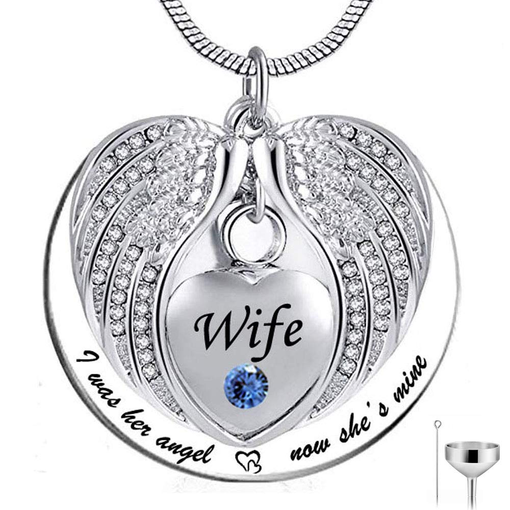 HQ Angel Wing Urn Necklace for Ashes Heart Cremation Memorial Pendant Necklace Jewelry I was His//Her Angel Now Hes//Shes Mine Wife