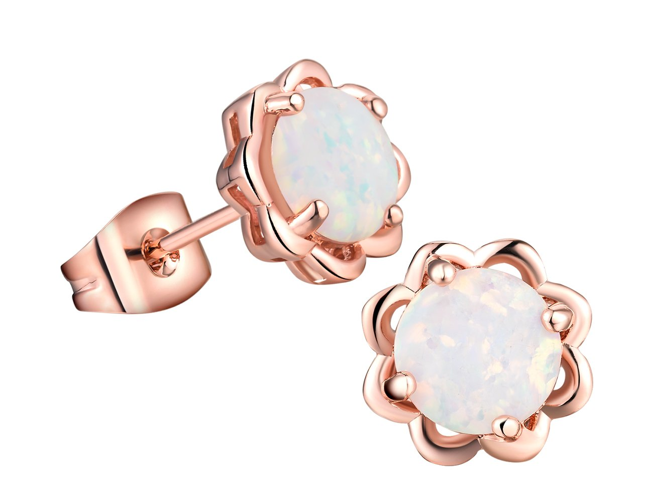 Opal Lotus earrings-18K Rose Gold Plated 6mm Round White Opal Stud Earrings For Women Girls
