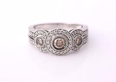 LeVian Halo 3 Diamonds / Stones Engagement Ring 0.70 Ct Chocolate /  Champagne And White Diamonds