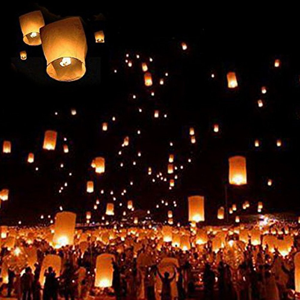 WWahuayuan 100 Pcs Kongming Lantern Chinese Sky Lanterns Paper Sky Flying Floating Fire Candle,Wishing Lamp for Party Wedding Birthday Assorted Color by WWahuayuan