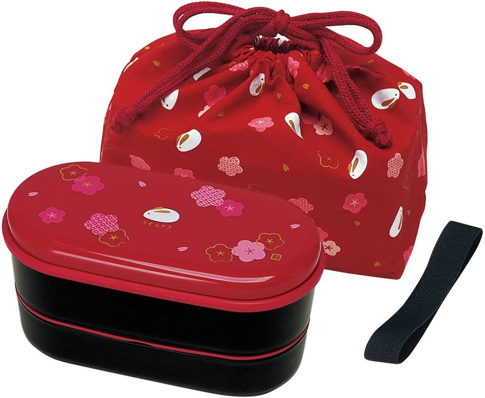Japanese 2 Tiers Bento Lunch Box with Belt, Bag Chopsticks, Red ...