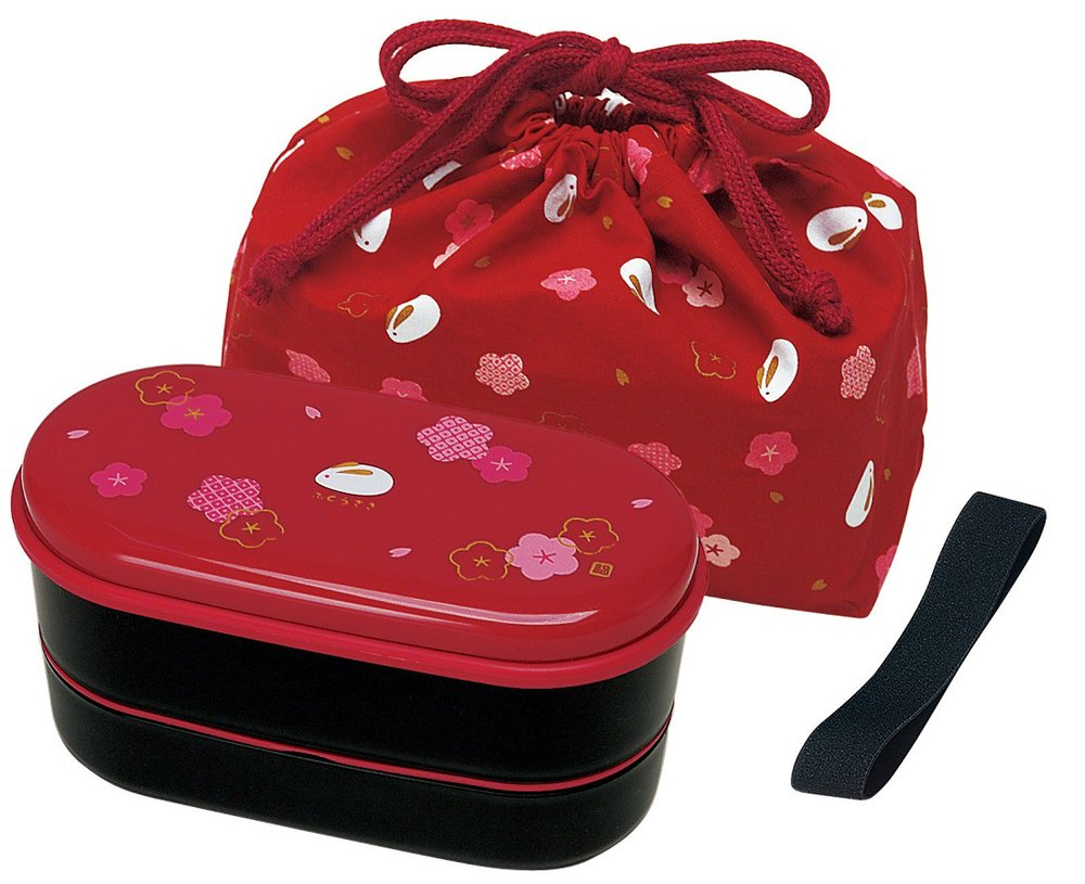 Japanese 2 Tiers Bento Lunch Box with Belt, Bag Chopsticks, Red Blossom and Bunny by Skater Cute Z Cute KSX2-RED3673