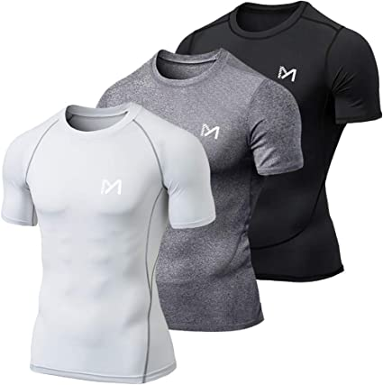 MEETYOO Tee Shirt Homme, Compression Maillot Manches Courtes T Shirt Baselayer Running Vetement pour Sports Jogging Musculation Gym