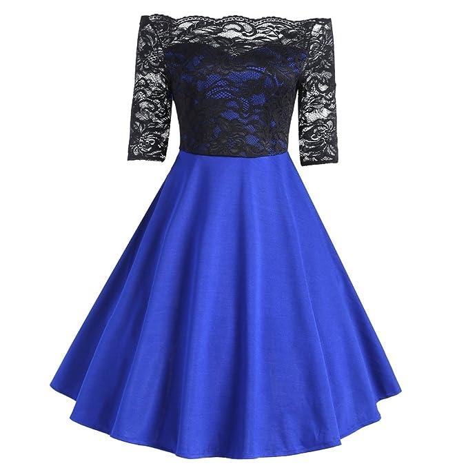 iBaste Vestidos Vintage Mujer Fiesta Hepburn Estilo Fuera del Hombro Elegante Costura de Encaje Dress
