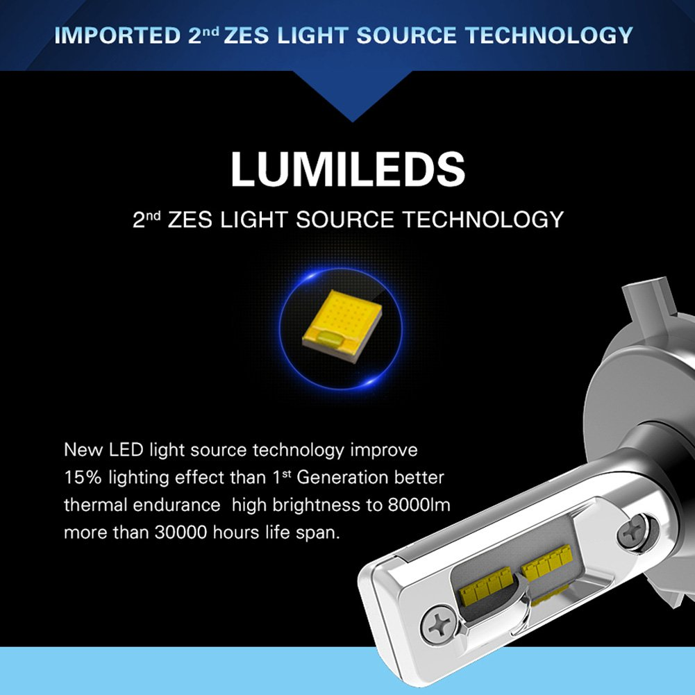 T1-H7 2 Yr Warranty Pair H7 LED Headlight Bulb Motorcycle CREE 70W 7200LM 6000K Cool White Led Conversion Kit