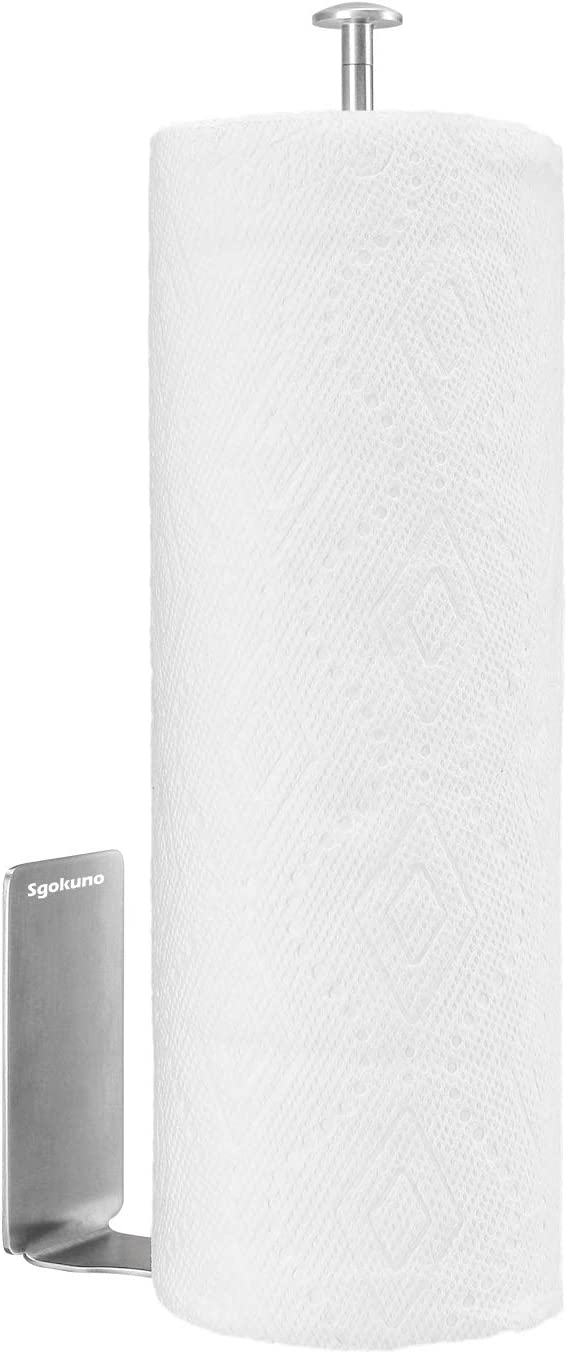 Adhesive Vertical Paper Towel Holder  Wall Mount Toilet Tissue Roll Storage Rack