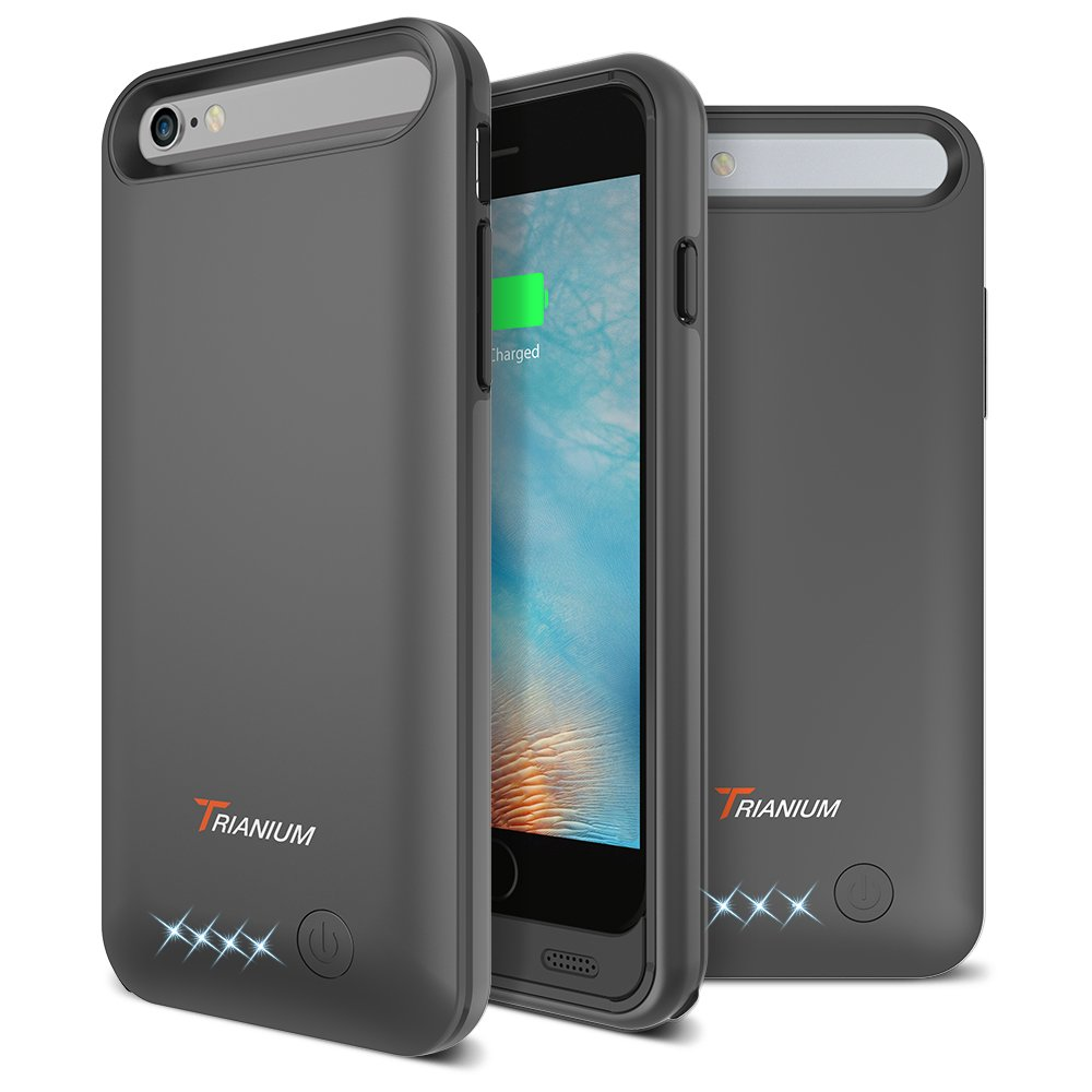 iPhone 6/6S Battery Case, Trianium Atomic Pro iPhone Portable Charger iPhone 6/iPhone 6S (4.7 inch) Charging Case - 3200mAh Extended Battery Pack Juice Bank Cover[MFI Apple Certified] - [Black]