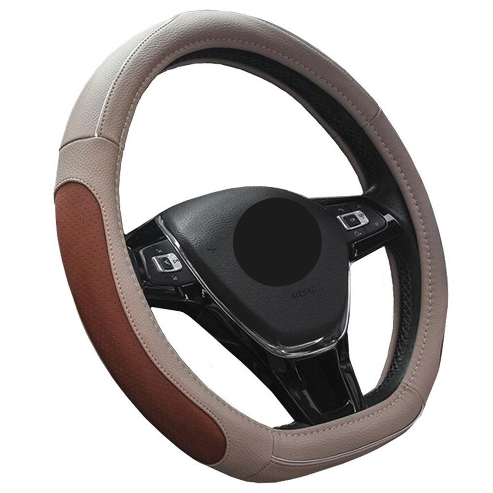 Flat Bottom Car Steering Wheel Protector D Cut Shaped Diameter 38cm Red Line 15 HYUGO D Type Steering Wheel Cover Black