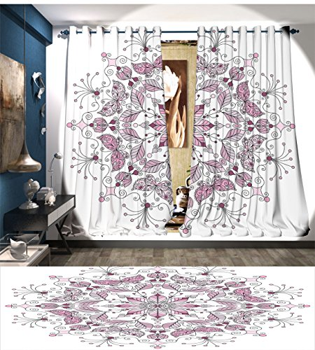 Purple Mandala Room Darkening Wide Curtains Lacy Pastel Flor