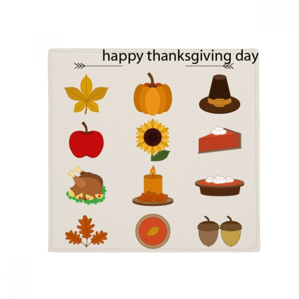 DIYthinker Happy Thanksgiving Day Food Pattern Anti-Slip Floor Pet Mat Square Home Kitchen Door 80Cm Gift