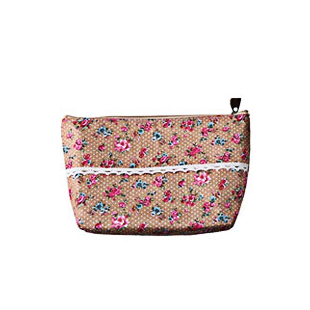 Msyou trousse da viaggio trucco motivo floreale Toiletry organizer Wash bag multifunzionale Storage Bag per donne ragazze (rosa)