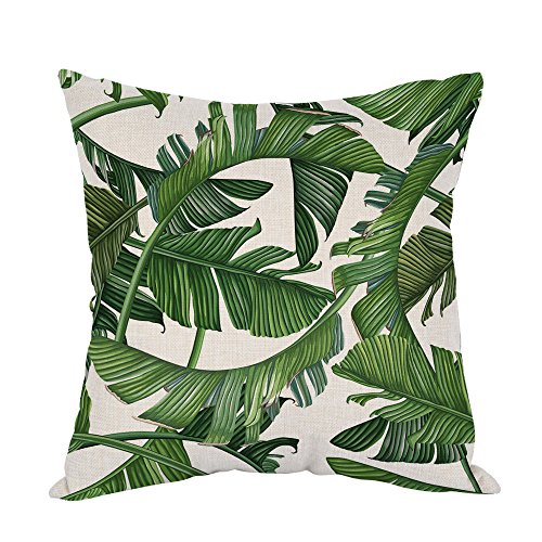 Home Decor Throw - Moslion Palm Leaves Pillow,Home Decor Throw Pillow Cover Tropical Dense Jungle Palm Leaves Cotton Linen Cushion for Couch/Sofa/Bedroom/Livingroom/Kitchen/Car 18 x 18 inch Square Pillow case