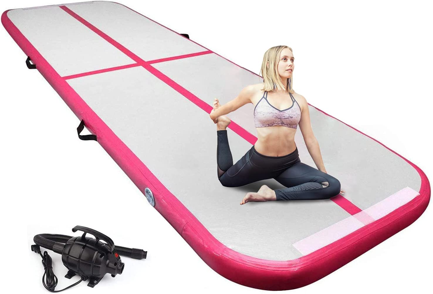 EDOSTORY Inflatable Air Gymnastics Mat 10ft/13ft/16ft/20ft Training Mats 4 inches thick Gymnastics Tracks for Home /Training/Cheerleading/Yoga/Water Sports with 600W Electric Pump