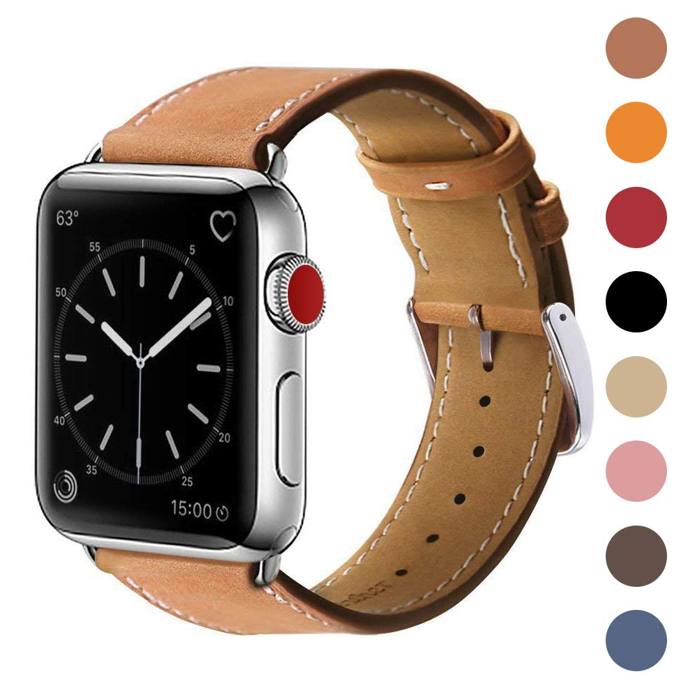 MARGE PLUS Compatible with Apple Watch Band 42mm 44mm, Genuine Leather Replacement Band Compatible with Apple Watch Series 4 (44mm) Series 3 Series 2 Series 1 (42mm) Sport and Edition, Brown by MARGE PLUS