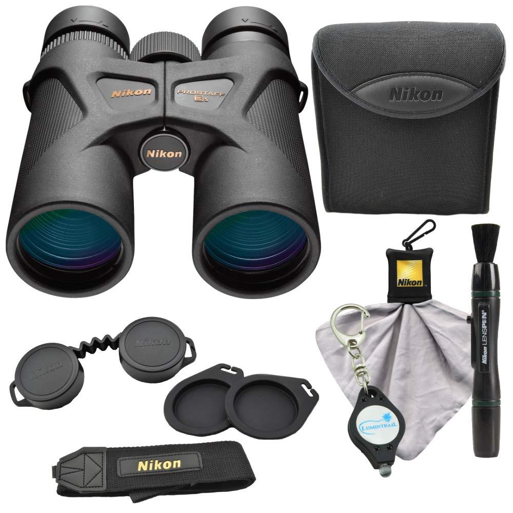 Nikon Prostaff 3S 8x42 Binoculars (16030) Bundle with Nikon Micro Fiber Cloth, Lens Pen and Lumintrail Keychain Light