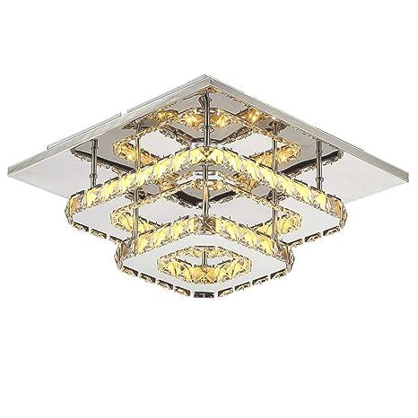 VinDeng Cristal Cuadrado LED Lámpara de techo, 36W Cromado ...