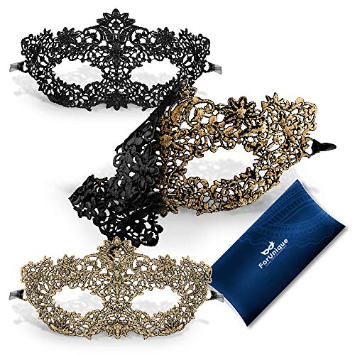 Halloween Ideas With Masquerade Masks (One Masquerade Mask for Women 2 Sides - Unique Luxury Design One Side Black and One Gold Girl Lace Venetian Eye Mask - Party Supplies Accessories Carnival Mardi Gras Anniversary)