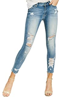 Kan Can Womens Low Rise Ankle Skinny Jeans - Distressed ...