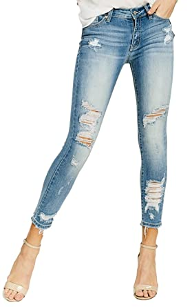 20aef718b32 Kan Can Jeans Austin Mid-Rise Distressed Ripped Medium Light Wash Skinny  Jeans KC8319SDM (