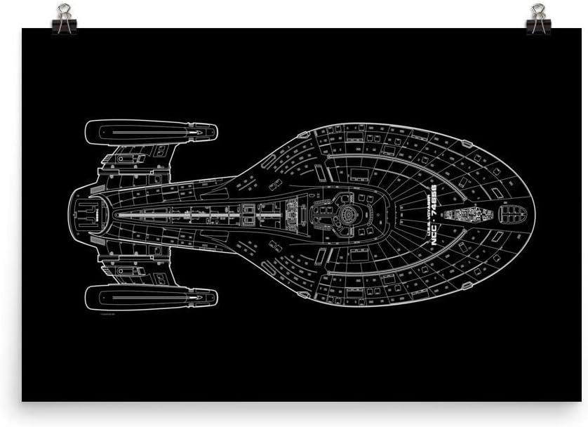 Amazon.com: Star Trek: Voyager Schematic Premium Satin Poster: Posters &  Prints | Voyager Schematics |  | Amazon.com