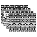 WOZO African and Mexican Aztec Tribal Placemat Table Mat, Classic Ethnic 12'' x 18'' Polyester Table Place Mat for Kitchen Dining Room Set of 4