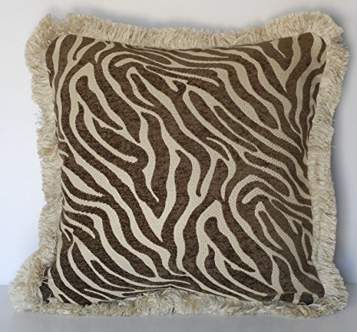 Just Right Pillow Zebra Skin Brown and Beige Chenille Animal Print Decorative Throw Pillow With Fringe (25x25)