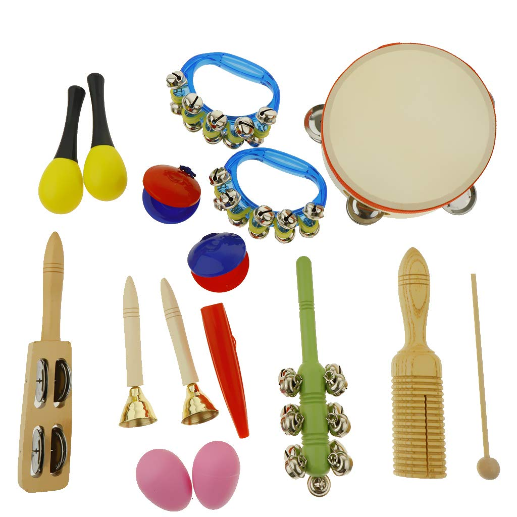 kesoto 16pcs Toddler Musical Instrument Toy Set, Tambourine & Maracas & Crow Sounder and More for Kids Children Music Party Toy by kesoto (Image #1)