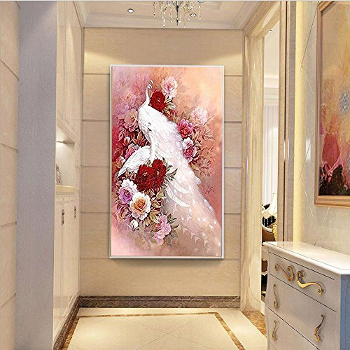 5D Diamond Painting kit Full Drill DIY Crafts Paint with Diamonds Set Mosaic Art Pictures 3D Round Crystal White Peacock Flowers Stamped Embroidery Wall Sticker for Home Décor 32.3''by19.7'' ()