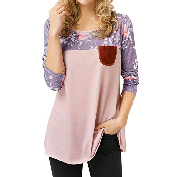 Blusa Mujer,Las Mujeres de Estampado Floral de Manga Larga Botón Tops Blusa de Camisa