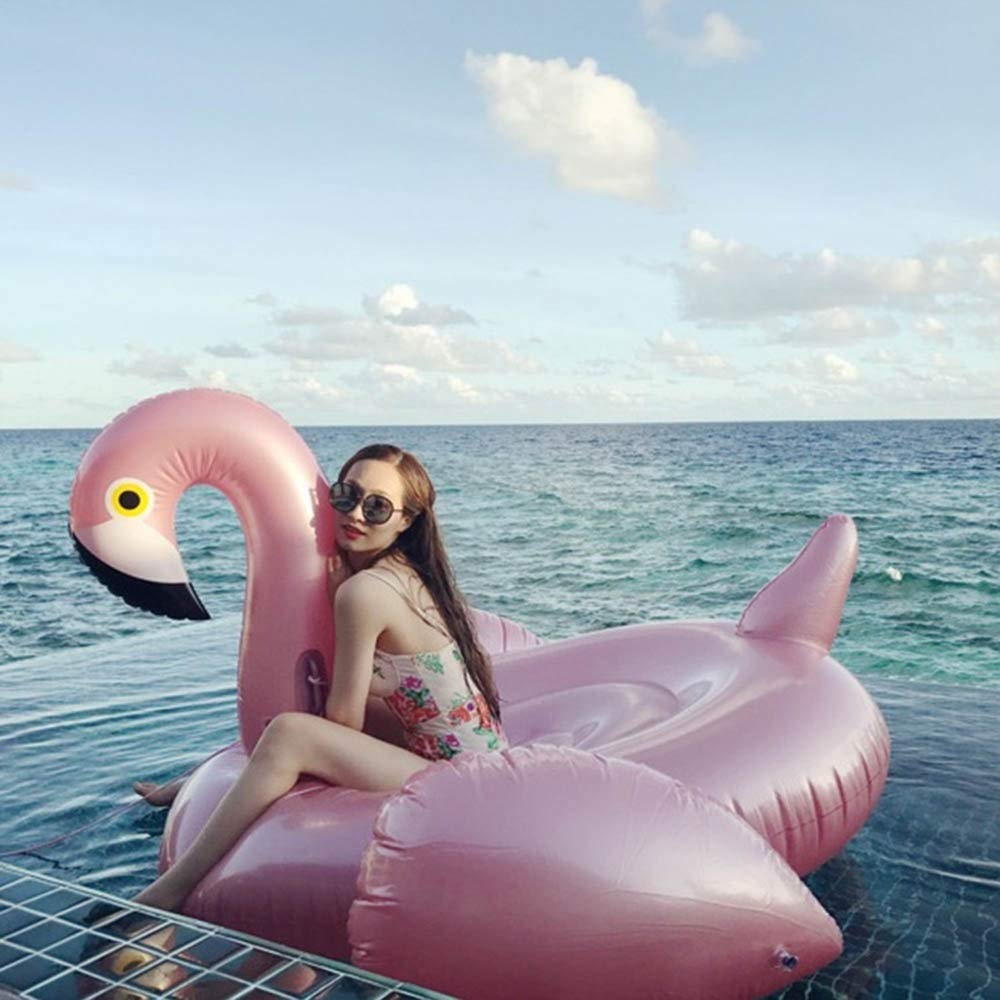 LUCY STORE Beach Water Beach Beach Pool Inflatable Flamingo Floating Row Adult Swimming Ring Toy Water Riding Water Bed Floating Bed Sofa 195X200x120cm Family by LUCY STORE