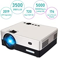 HD Projector, Tontion 3500 Lux Video Projector Native 720P Mini Projector,and 179'' Display,50,000 Hour LED , Portable Projector Compatible with TV Stick, PS4,HDMI, VGA, USB, AV, TF, DVD Player