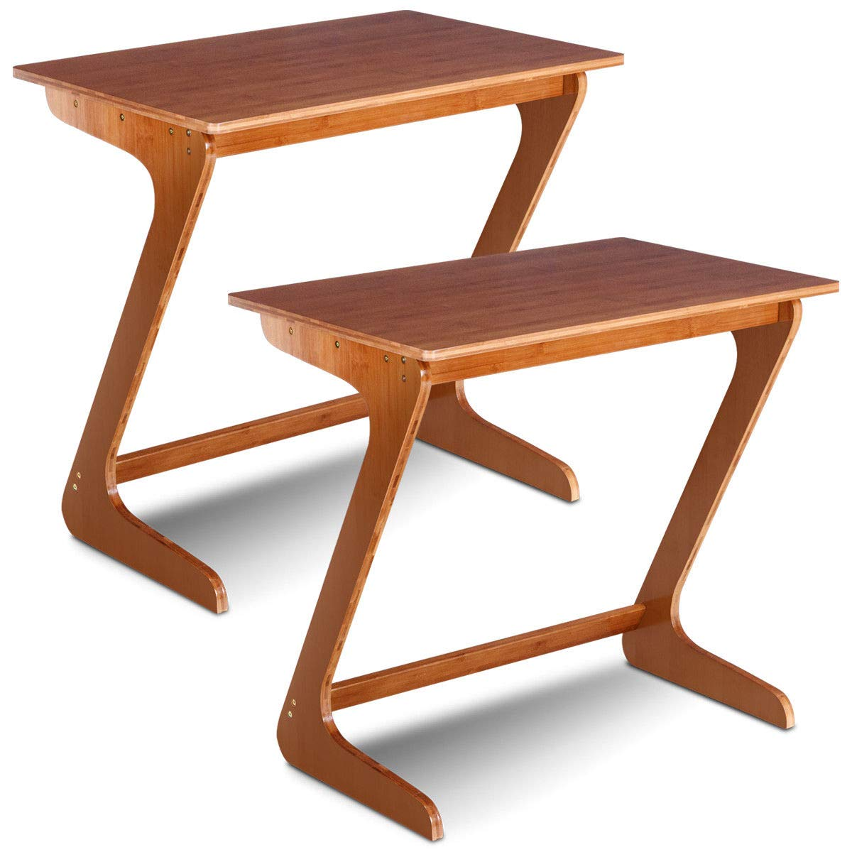 TANGKULA Sofa Table Z Style Portable Home Laptop Writing Wokstation TV Snack End Side Table Laptop Desk Coffee End Table Bed Side Snack Table (Bamboo Natural)