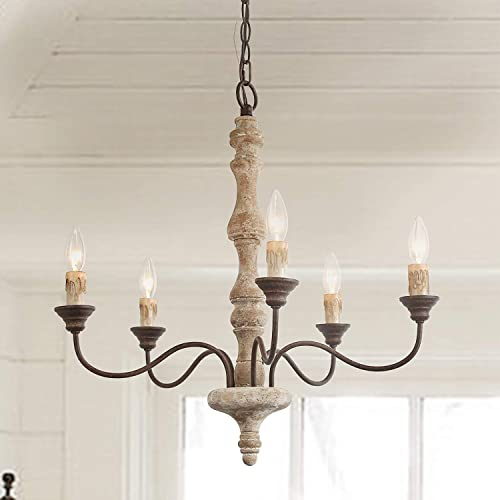 LNC French Country Chandelier, Farmhouse Handmade Distressed Wood 5 Lights Fixture for Dining Living Room, Bedroom, Kitchen, Stairway, Bathroom