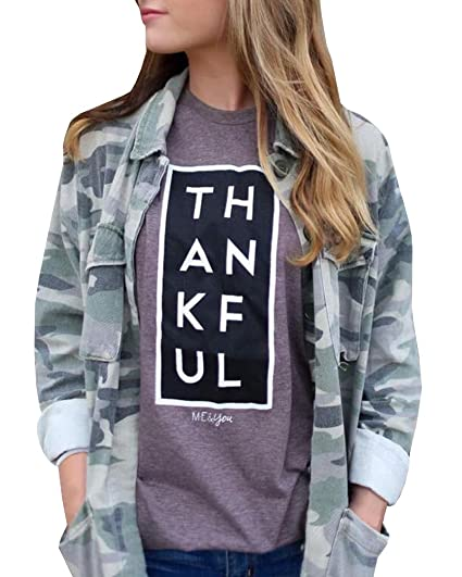 Hestenve Women's Short Sleeve Cotton ME&YOU THANKFUL Printed Knits Tees Top T Shirts