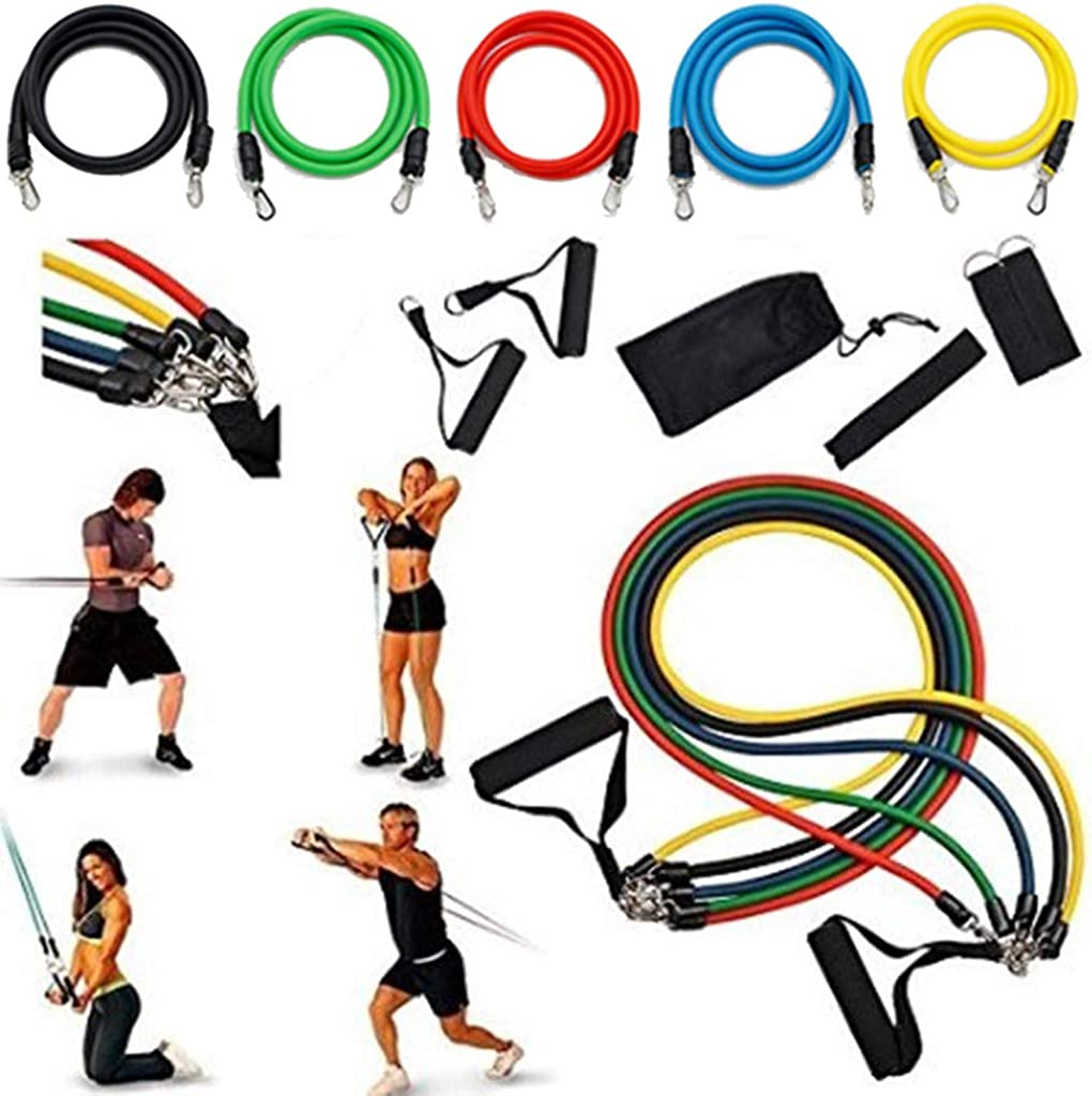 Yoga BITOPYTOPSIY 11 PCS Resistance Exercise Band Set Pilates Fitness Tube Workout Bands for Resistance Training Physical Therapy