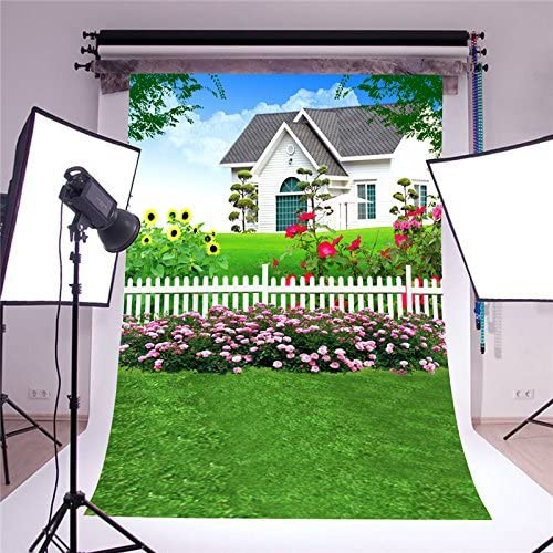 SZZWY Scenic Background Villa Vinyl for Baby Photo Studio Props Green Grass Photography Backdrops Flowers 5x7FT GQ003