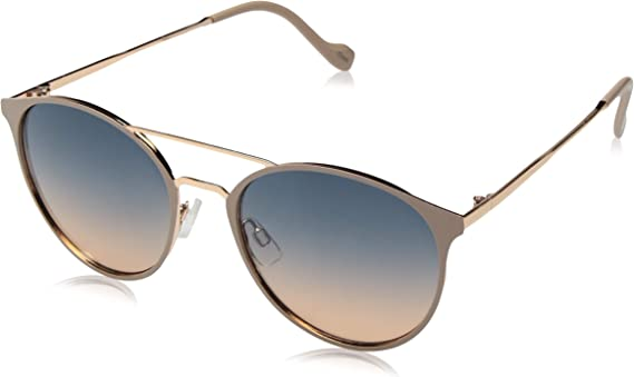 Jessica Simpson Women's J5564 Round Mixed Metal Sunglasses with Metal Brow Bar and Temple and 100% UV Protection
