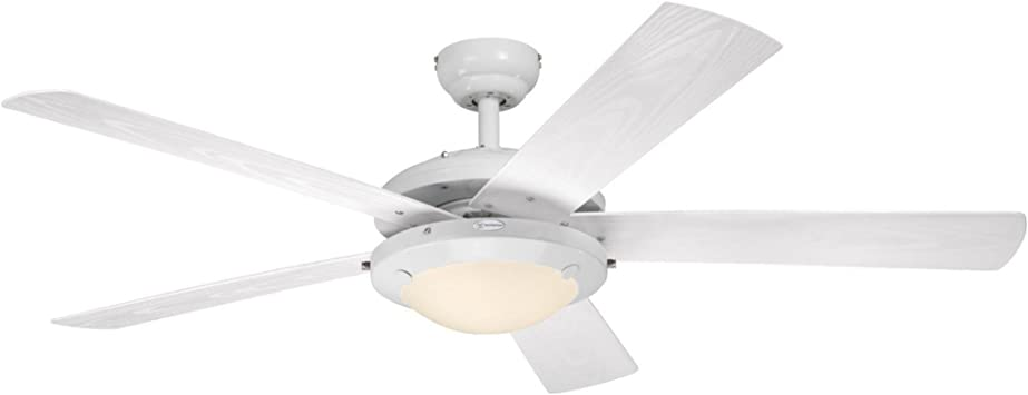 Light Kit with Frosted Glass Westinghouse Lighting 7813620 Comet 52-Inch Brushed Pewter Indoor Ceiling Fan