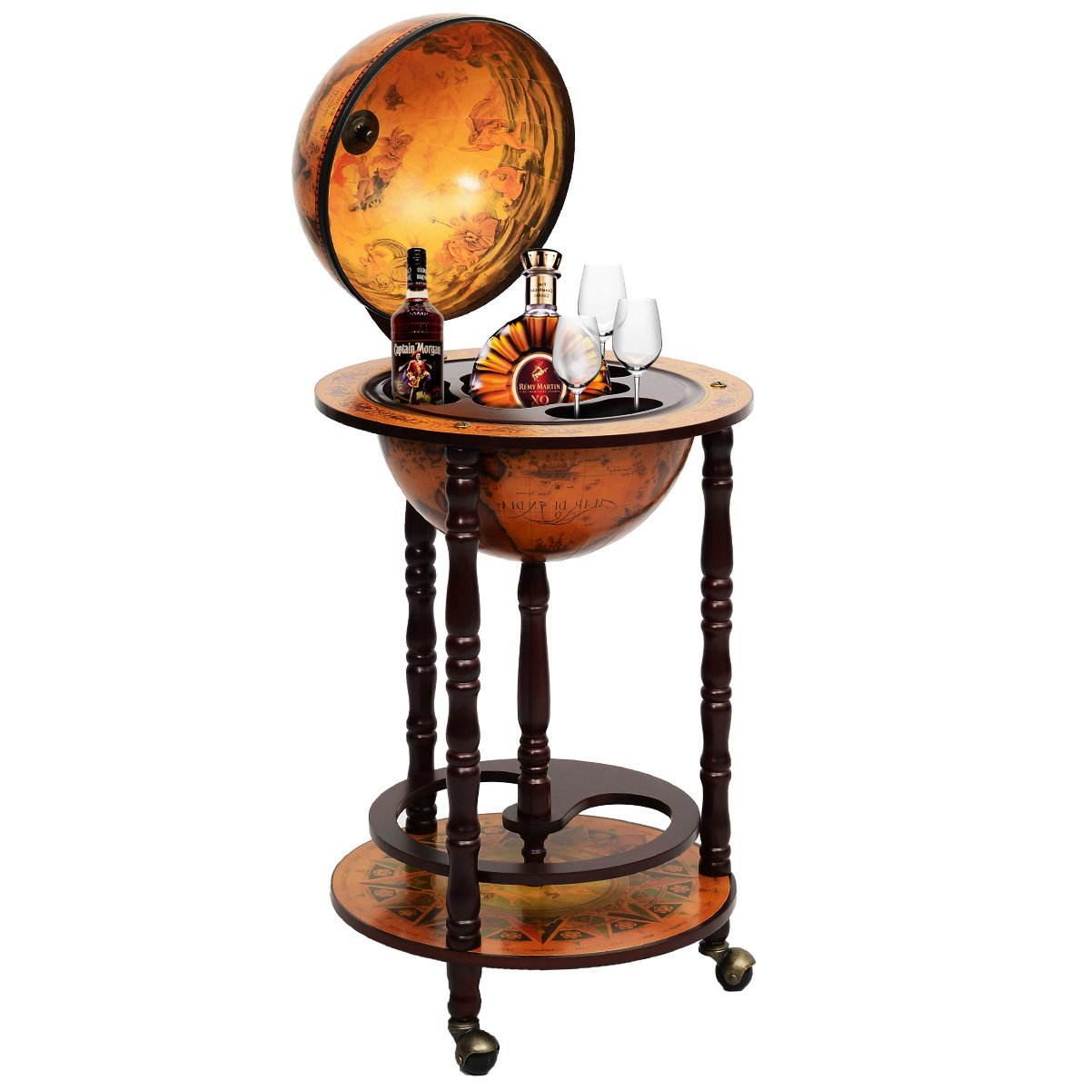 CASART 360MM Wood Globe Drink Cabinet Movable Double Deck Wine Bottle Beverage Storage Stand W/3 Wheels for Bar Kitchen Office Home
