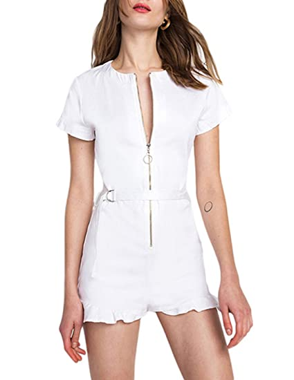 593ff2a9946 Amazon.com  ASMAX HaoDuoYi Women Basic Short Sleeve Zipper Belted Party Romper  Jumpsuit  Clothing