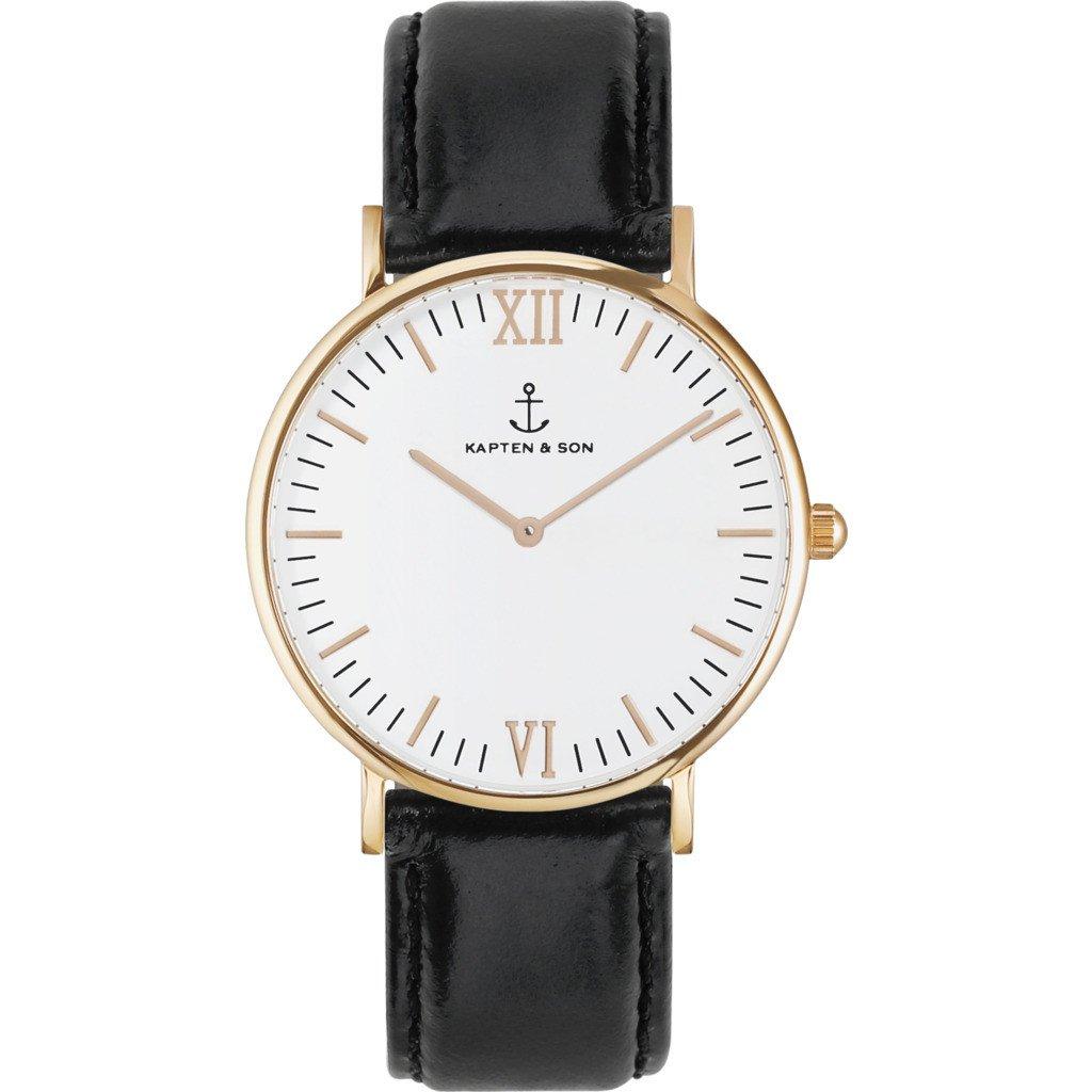 Kapten & Sonキャンパスブラックレザー腕時計|ホワイト B01N0OH2RX