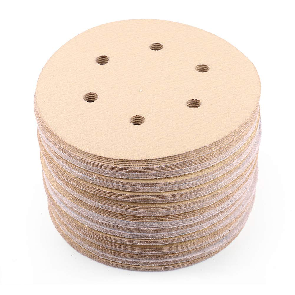 6-Inch 6-Hole Sanding Disc, 60 80 120 150 220 Grit Sandpaper Assortment - LotFancy Hook and Loop Random Orbital Sander Paper, Pack of 100