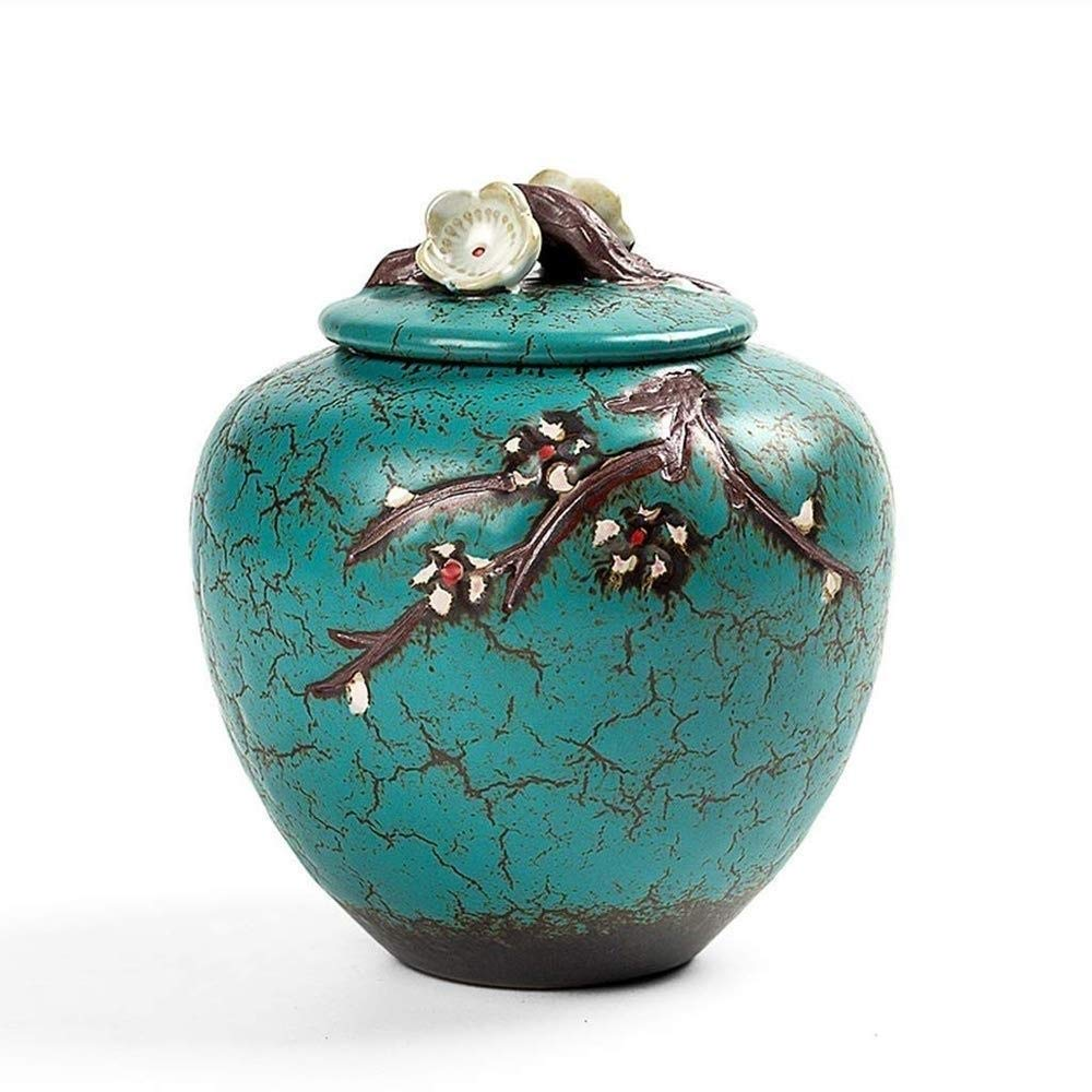 B ROLLHG Funeral Urn Cremation Urn for Human or Pet Ashes Hand Made & Hand Engraved Display Urn at Home or in Niche Model (Size   B)