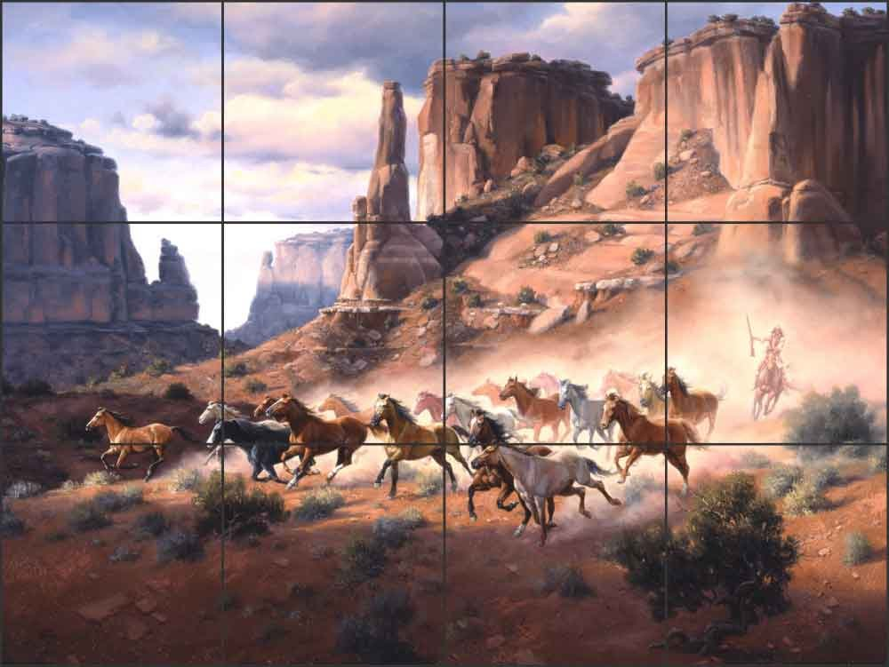 Artwork On Tile Ceramic Tile Mural Backsplash Western Art Sandstone and Stolen Horses by Jack Sorenson - Kitchen Bathroom Shower (17'' x 12.75'' - 4.25'' tiles)