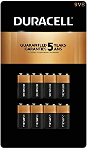 Duracell - CopperTop 9V Alkaline Batteries - long lasting, all-purpose 9 Volt battery for household and business - 8 count