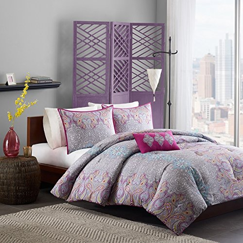 4 Piece Girls Hippie Comforter Full Queen, Gorgeous Multi Floral Bohemian Bedding, Plum Purple Grey Motif Floral, Indie Inspired Hippy Spirit, Paisley Flowers, Pretty Beautiful Pattern, Vibrant - Hippy Colors
